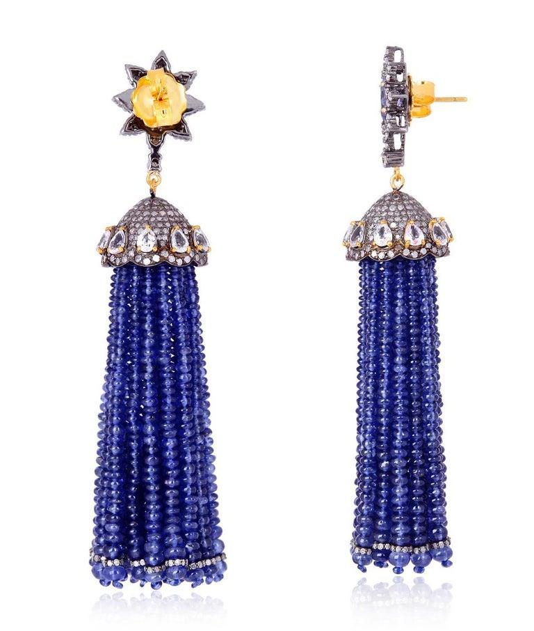 Contemporary Tassel 157.8 Carat Sapphire Tanzanite Diamond Earrings For Sale