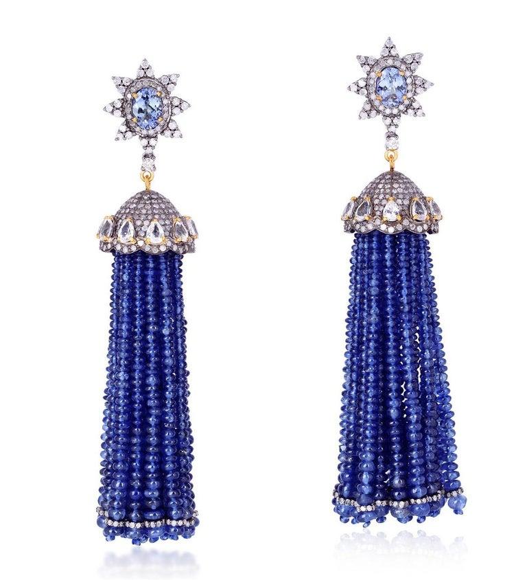 Tassel 157.8 Carat Sapphire Tanzanite Diamond Earrings In New Condition For Sale In Hoffman Estate, IL
