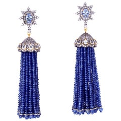 Tassel 157.8 Carat Sapphire Tanzanite Diamond Earrings