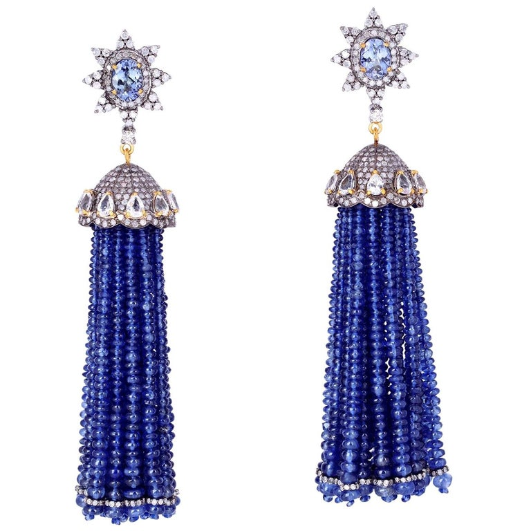 Tassel 157.8 Carat Sapphire Tanzanite Diamond Earrings For Sale