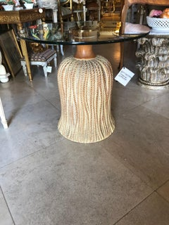 Tassel-carved Accent Table with Glass Top