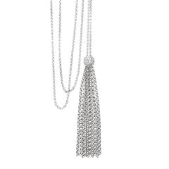 Tassel Diamond Ball Necklace, Long 18 Karat White Gold