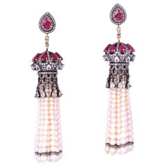 Tassel Ruby Pearl 4.77 Carat Diamond Earrings