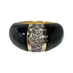 Tasteful and Tailored, Onyx, Diamond and Yellow Gold Ring