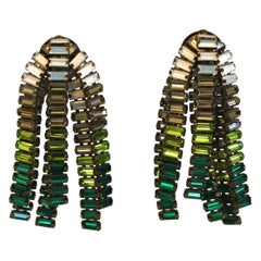 Tataborello Clear, Green, and Blue Baguette Clip Earrings