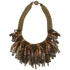 Tataborello Crystal and Metal Fringe and Braided Metal Statement Necklace