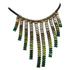 Tataborello Green and Clear Baguette Fringe Necklace