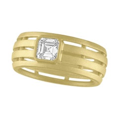 TATE .56 Carat Asscher Cut Diamond Fence 18 Karat Green Gold Ring
