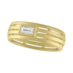 TATE Baguette 18 Karat Green Gold Fence Ring Diamond .23 Carat