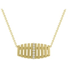 TATE Golden Diamond Barrel 18 Karat Yellow Matte Gold Necklace Chain