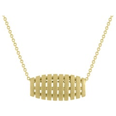 TATE Golden Petite Barrel 18 Karat Yellow Matte Gold Necklace Chain