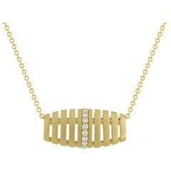 TATE Golden Petite Diamond Barrel 18 Karat Yellow Matte Gold Necklace Chain