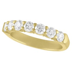 TATE Half Around Forever 18K Yellow Matte Gold Band 7-Stone .97ct Diamond Ring