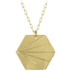 TATE Hexagon Pendant 18 Karat Green Gold Diamond Accent Necklace Chain