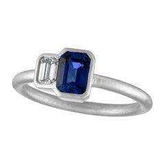 TATE Joined Matte Platinum .25 Carat Diamond and .69 Carat Sapphire Ring