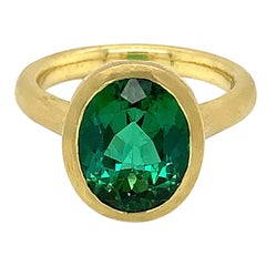 Tate Matte 18 Karat Oval Green Tourmaline Ring 4.06 Carat Diamond Accents .07ct