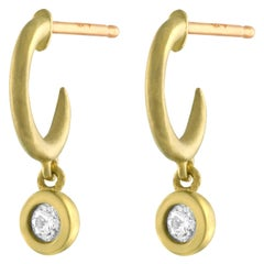 TATE Mini Diamond Hoop Drop 18 Karat Yellow Gold Earrings Diamond .10 Carat