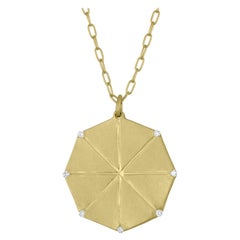 TATE Octagon Pendant 18k Green Gold Diamond Necklace 7 Diamond Accents Chain