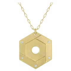 TATE Open Hexagon 18 Karat Green Gold with Diamond Accents Necklace Chain