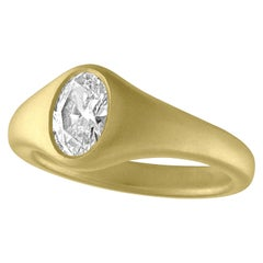TATE Oval .90 Carat Diamond Bombe 18 Karat Green Gold Ring