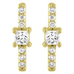 TATE Shine 18 Karat Yellow Gold Earrings .14 Carat Diamond Stud