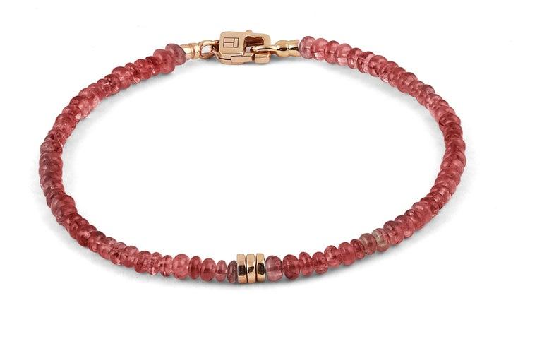 Modern Tateossian Precious Stone Beaded Bracelet - Ruby & 18 Karat Gold For Sale