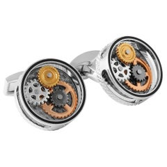 Tateossian Round Gear Carbon Fibre Cufflinks in Rhodium