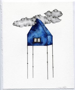 """Ripple Idly"", graphite, gouache, drawing, blues, house, stilts, white"
