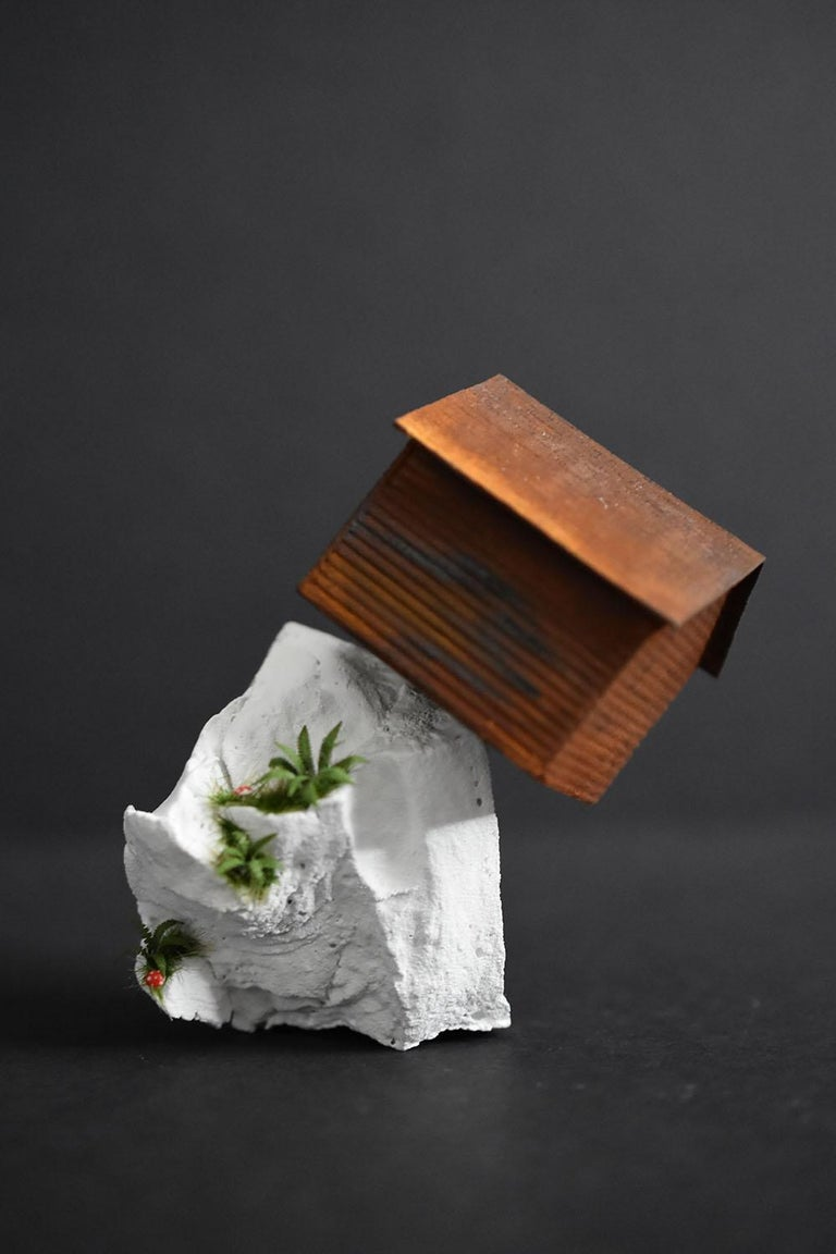 """""""Off the Edge"""" by Tatiana Flis is a 3.5 x 2 x 2.5 inch miniature landscape sculpture of reclaimed wood, plastic, and mixed-media materials. An orange and rust colored cape style home sits on top of a white landscape with ferns and mushrooms. The red"""