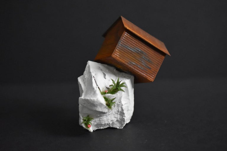 """Off the Edge"", mixed media, miniature, landscape, sculpture, home, orange, rust - Sculpture by Tatiana Flis"