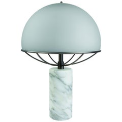 Tato Italia Jil Table Lamp in Satin Black Chrome and Smoky Grey Glass