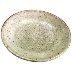 Tatsuzo Shimaoka Japanese Glazed Rope Inlay Pottery Ceramic Plate Low Bowl
