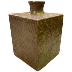 Tatsuzo Shimaoka Japanese Glazed Rope Inlay Pottery Ceramic Vase with Signed Box