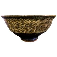 Tatsuzo Shimaoka Japanese Glazed Rope Inlay Pottery Tea Bowl Chawan, 1957