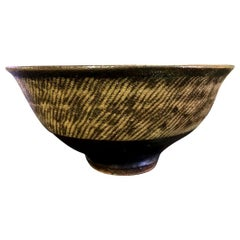 Tatsuzo Shimaoka Japanese Glazed Rope Inlay Pottery Tea Bowl Chawan, 1957