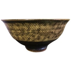 Tatsuzo Shimaoka Japanese Glazed Rope Inlay Tea Bowl Chawan, 1957