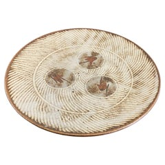 Tatsuzo Shimaoka Signed Japanese Glazed Rope Inlay Ceramic Pottery Bowl Plate