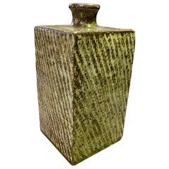 Tatsuzo Shimaoka Signed Japanese Glazed Rope Inlay Pottery Ceramic Vase with Box