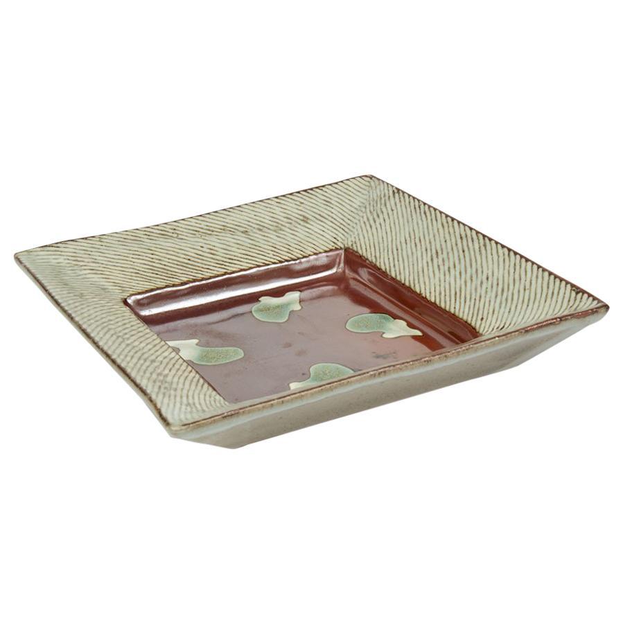 Tatsuzo Shimaoka Square Stoneware Studio Pottery Plate, 20th Century