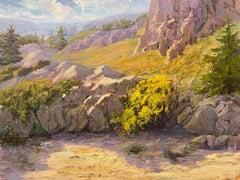 Above Lake Tahoe, Painting, Oil on Wood Panel