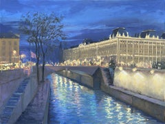 Night In the City of Light. Paris., Painting, Oil on Canvas