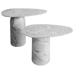 Taula White Marble Side Tables Set