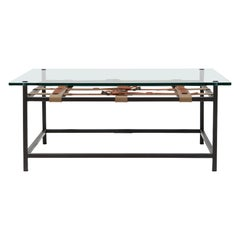 Belted Glass-Top Coffee Table