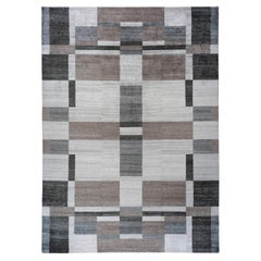 Taupe and Grey Contemporary Indian Area Rug