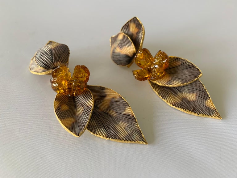 Taupe and Grey Large Artisan Leaf Statement Earrings  In New Condition For Sale In Palm Springs, CA