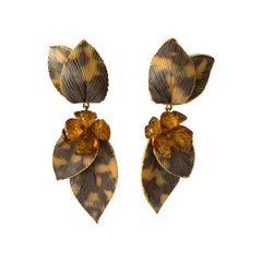 Taupe and Grey Large Artisan Leaf Statement Earrings