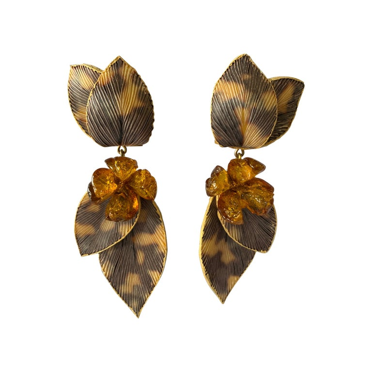 Taupe and Grey Large Artisan Leaf Statement Earrings  For Sale