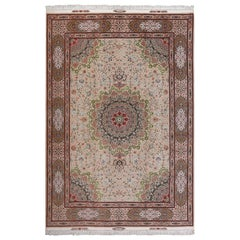 Taupe Background Vintage Tabriz Persian Rug. Size: 8 ft 2 in x 12 ft