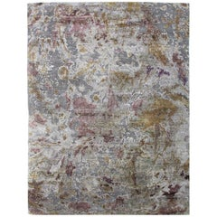 Taupe Blush Lime Grey Distressed Wool and Natural Silk Contemporary Abstract Rug