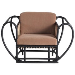 Green Channel Armchair with Black Frame